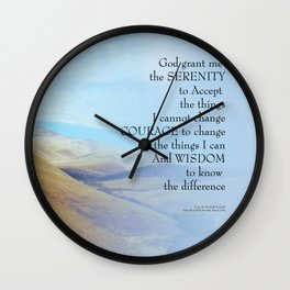 Serenity Prayer Golden Hills Wall Clock