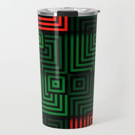 Red and green tiles with op art squares and corners Travel Mug