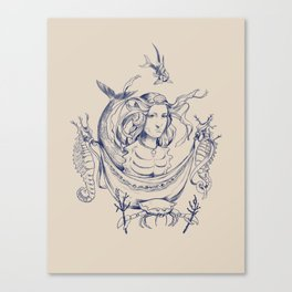Sea Posse II - Princess, Navy Canvas Print