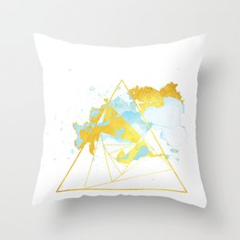 Darling Daydreamer - Blue Gold Geometric Throw Pillow
