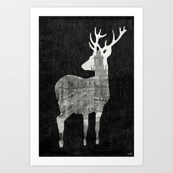 Deer City Collage 3 Art Print