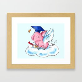 Winged Piggy Grad Framed Art Print
