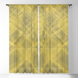 Swirling yellow ribbons with a pattern of symmetrical checkerboard rhombuses.  Sheer Curtain