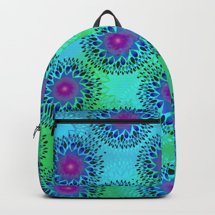 Teardrop Concentric Circle Pattern (Turquoise and Blue) Backpack