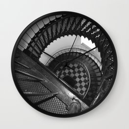 Black and white spiral stairs Wall Clock