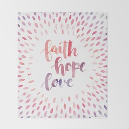Faith Hope Love. Watercolor lettering. Ombre starburst. Throw Blanket