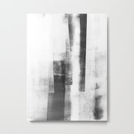 "Black and White Minimalist Geometric Abstract Painting ""Structure 3"" Metal Print"