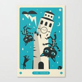 TAROT CARD CAT: THE TOWER Canvas Print