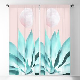 Stellar Agave and Full Moon - pastel aqua and pink Blackout Curtain