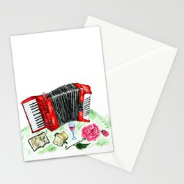 Retro red accordion Stationery Cards