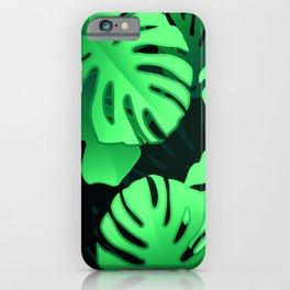 Tropical Palm Leaf Pattern in Elegant Jungle Green iPhone Case