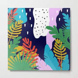 Jungle with tropical leaves background Metal Print