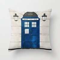 doctor Throw Pillows featuring Doctor Who & Sherlock by Sof Andrade