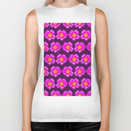 Pink floral pattern on a burgundy background, Girly Pattern Biker Tank