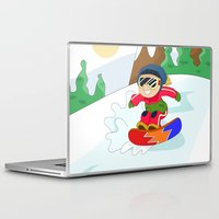 snowboarding Laptop & iPad Skins featuring Winter Sports: Snowboarding by Alapapaju