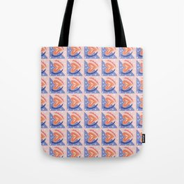 Blue and Pink Heart Geometric Pattern Tote Bag