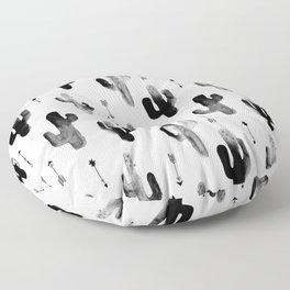 Black and white ink cactus garden indian summer Floor Pillow