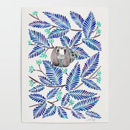 Happy Sloth – Tropical Blue Leaves Poster