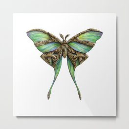 Steampunk Green Luna Moth Metal Print