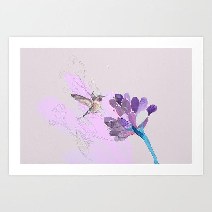 Hummingbird with purple flower watercolor Art Print