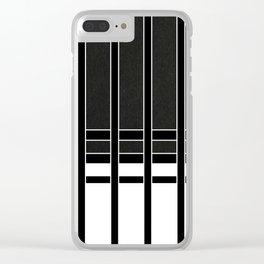 Modern Minimalist Black and White Stripes Clear iPhone Case