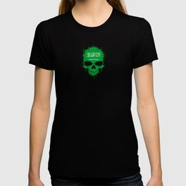 Flag of Saudi Arabia on a Chaotic Splatter Skull T-shirt