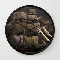 sailing Wall Clocks featuring Sailing by Kristiana Art Prints