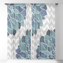 Festive, Chevron, Floral Prints, Navy, Teal and Gray Sheer Curtain