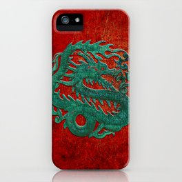 Wooden Jade Dragon Carving on Red Background iPhone Case