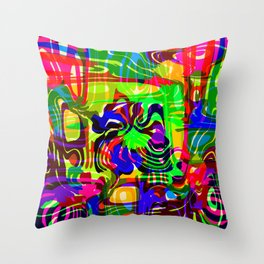 Explosive smudges of mysterious infinity from pink lines and a light blue square cycle. Throw Pillow