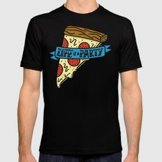 Life is a Pizza Party Mens Fitted Tee MEDIUM Black