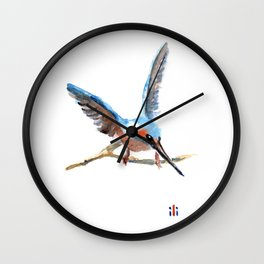 Watercolour Kingfisher Bird by ili Wall Clock