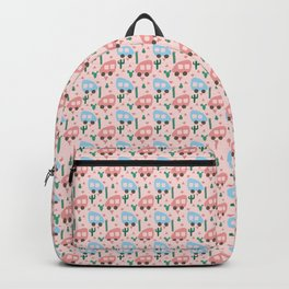 Mini Camper Vans in Blue and Pink with Green Cactus and Pink Flowers Backpack