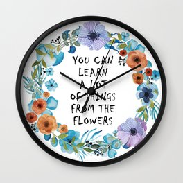 Alice in Wonderland Floral Quote Wall Clock