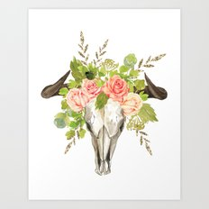 Bohemian bull skull and antlers with flowers Art Print