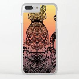 Sunset Cat Clear iPhone Case