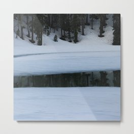 Snow. Stripes. Fogged Mirror. Metal Print