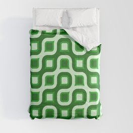 Truchet Modern Abstract Concentric Circle Pattern - Green Comforters