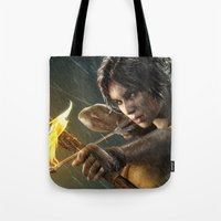 tomb raider Tote Bags featuring TOMB RAIDER by Ylenia Pizzetti