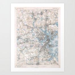 VIntage Topographical Survey Boston Massachusetts Art Print