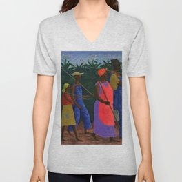 American American Masterpiece 'Field Workers' by Ellis Wilson Unisex V-Neck