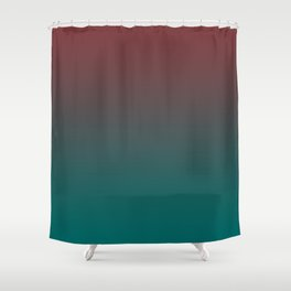 Ombre Quetzal Green Dark Red Pear Gradient Pattern Shower Curtain