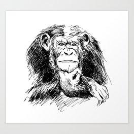 Drawing Chimpanzee Art Print