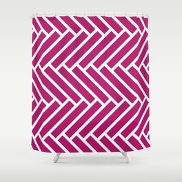 Berry pink and white herringbone pattern Shower Curtain