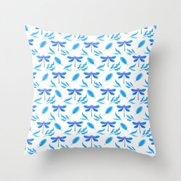 Pretty beautiful blue dragonflies, delicate leaves elegant stylish white nature botanical pattern Throw Pillow