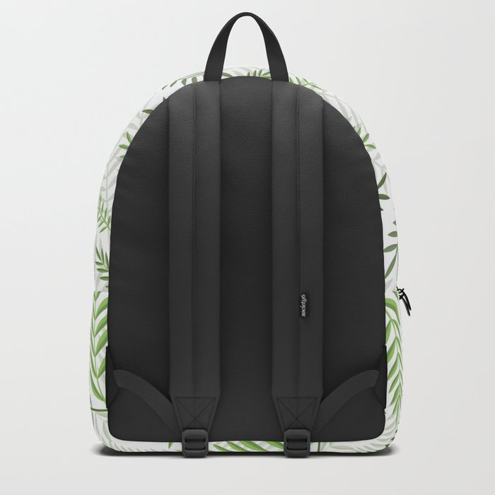 GREEN LEAVES ON WHITE Backpack