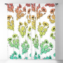 Modern abstract teal coral gradient floral cactus Blackout Curtain