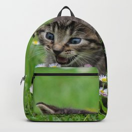Kitty looking at flowers Backpack