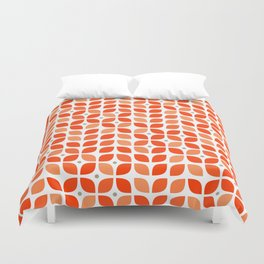 Red geometric floral leaves pattern in mid century modern style Duvet Cover