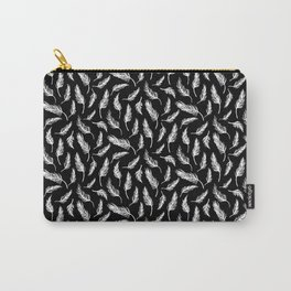 White Painted Feathers on Black Carry-All Pouch